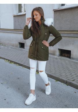Zimná dámska parka tmavozelenej farby s bielou kožušinou