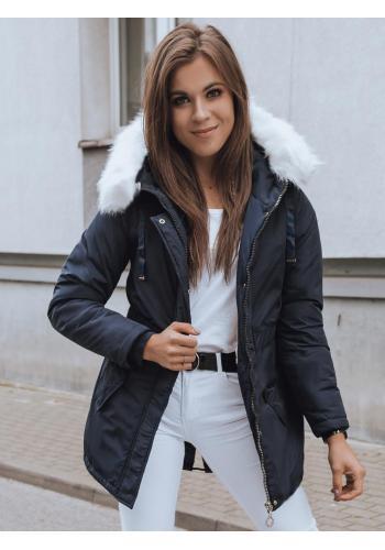 Zimná dámska parka tmavomodrej farby s kapucňou