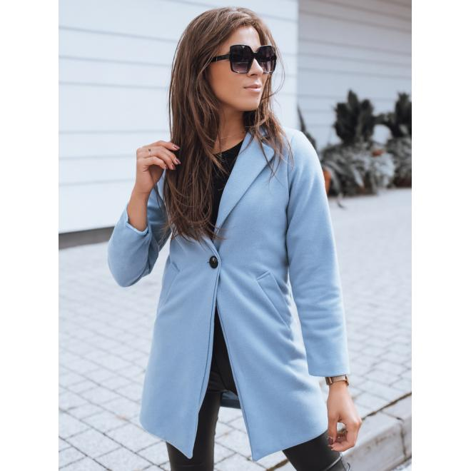 Svetlomodrý klasický kabát s golierom pre dámy