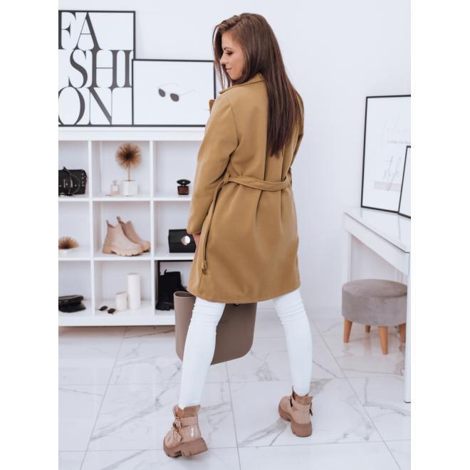 Dámsky dvojradový kabát s opaskom v hnedej farbe