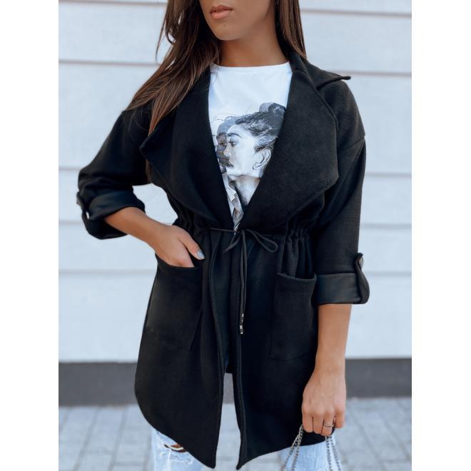 Čierny prechodný plášť s golierom pre dámy