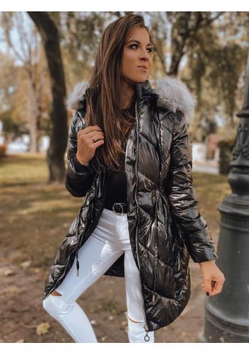 Čierna zimná bunda s reguláciou v páse pre dámy