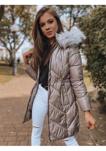 Dámska zimná bunda s reguláciou v páse v khaki farbe