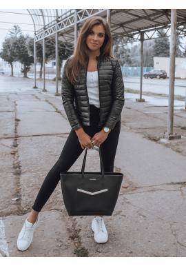 Čierna prešívaná bunda bez kapucne pre dámy