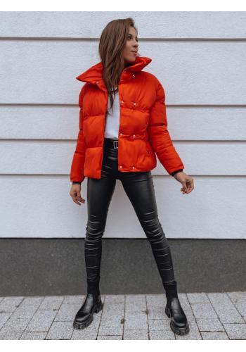 Prechodná dámska bunda červenej farby s golierom