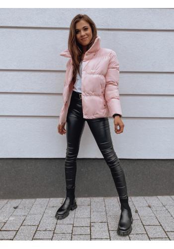 Dámska prechodná bunda s golierom v ružovej farbe