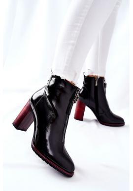 Čierne lakované čižmy pre dámy na dizajnovom podpätku