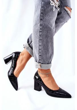 Čierne dámske lodičky s krokodílim vzorom