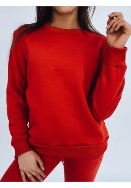 Červená klasická mikina bez kapucne pre dámy