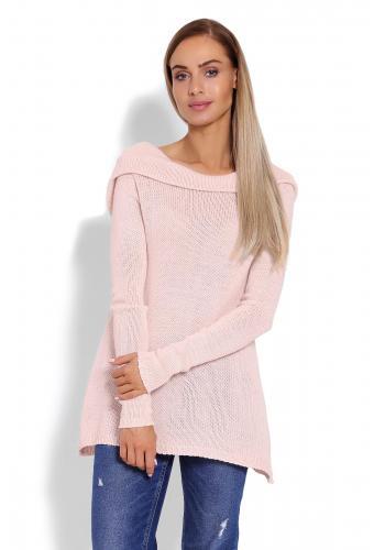 Ružový sveter s kapucňou pre dámy