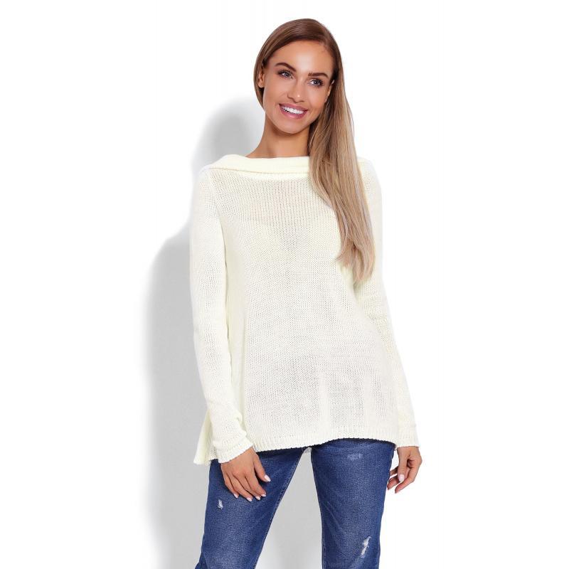 376485b2b57c0 Dámsky sveter s kapucňou v krémovej farbe - premamku.sk