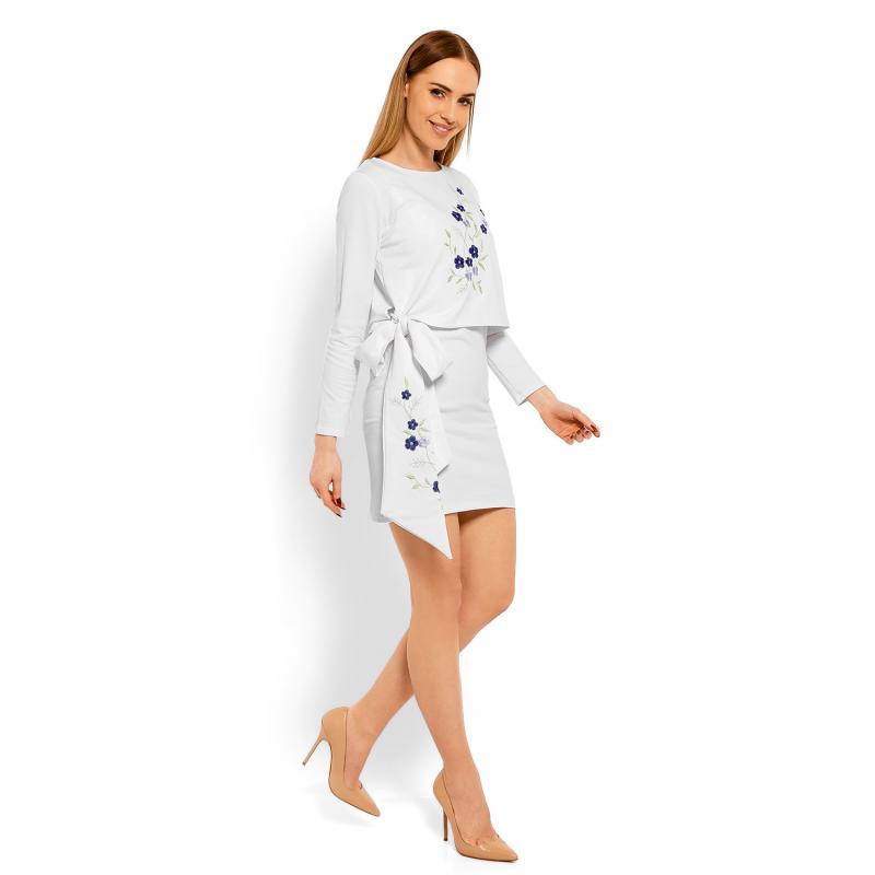 d516be46a3ad Biele šaty s vyšívanými kvetmi a mašľou pre dámy - premamku.sk
