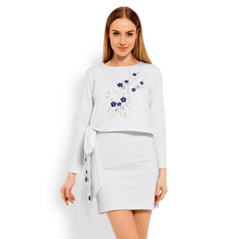 c9977c4f4 Biele šaty s vyšívanými kvetmi a mašľou pre dámy - premamku.sk