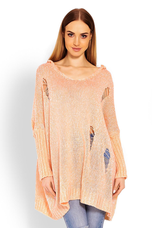 effaf4b1cb30 Dámsky oversize sveter s kapucňou a dekoratívnymi dierami v oranžovej farbe  - premamku.sk
