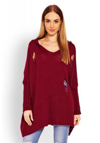 ae3ffff5ee72 Dámsky oversize sveter s kapucňou a dekoratívnymi dierami v bordovej farbe