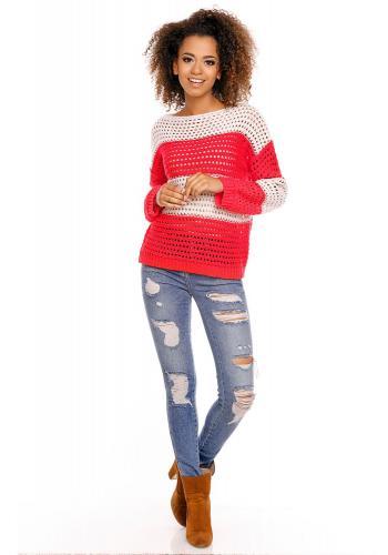 9daad2963 ... Sivo - biely pletený sveter pre dámy