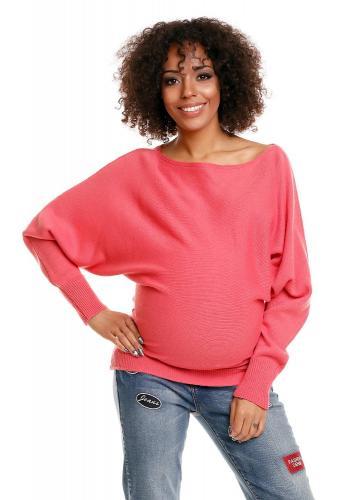 Tehotenský korálový oversize sveter