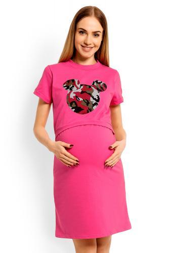 Tmavosivá bavlnená nočná košeľa s kŕmnym panelom pre mamičky - mickey