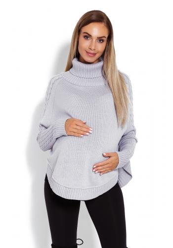 Tehotenský bordový hrubý rolák oversize s rozšírenými rukávmi