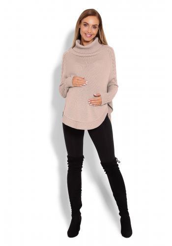 Tehotenské ružové pončo s ozdobným vrkočom na rukávoch
