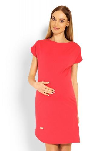 Tehotenské korálové asymetrické šaty s krátkym rukávom