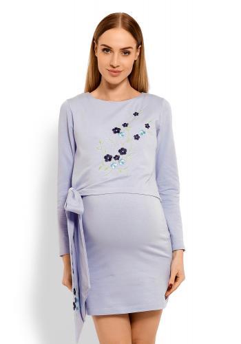 Tehotenské a dojčiace bordové šaty s vyšívanými kvetmi a mašľou