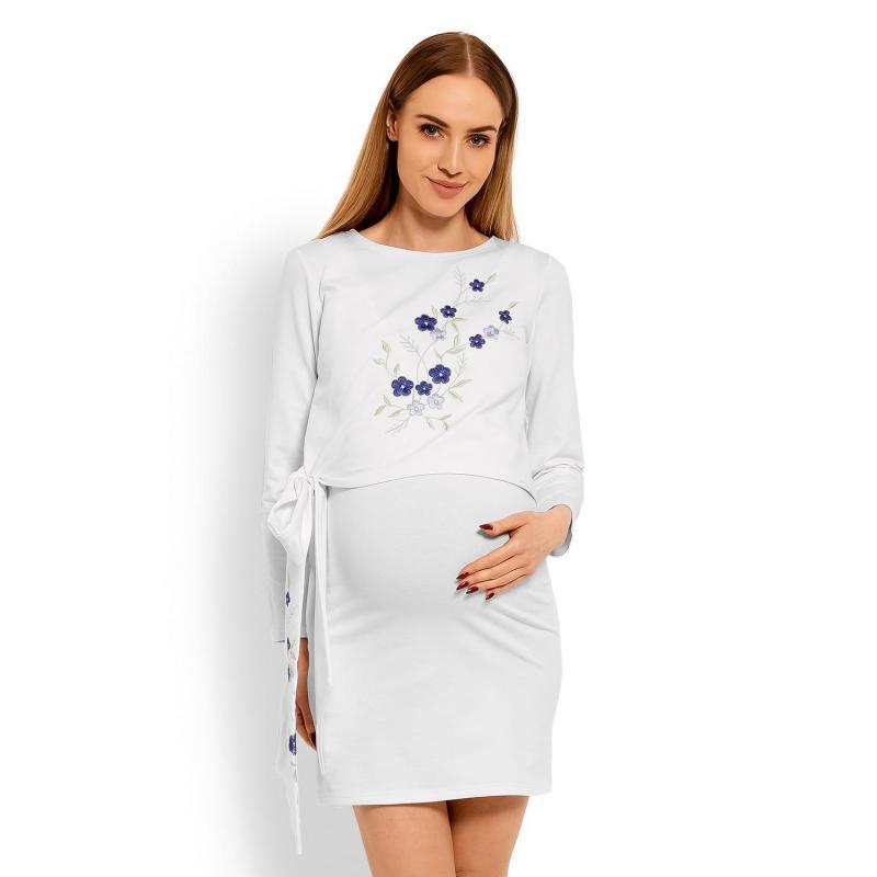 5c35dffa6bc8 Tehotenské a dojčiace šaty s vyšívanými kvetmi a mašľou v modrej farbe