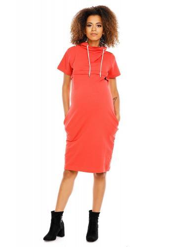 Korálové tehotenské a dojčiace šaty s krátkym rukávom
