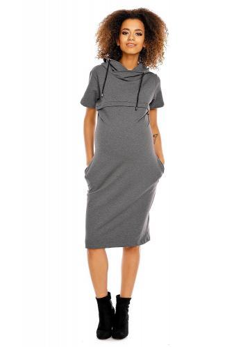 Tehotenské a dojčiace šaty s krátkym rukávom v béžovej farbe