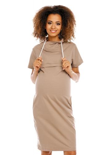 Tehotenské a dojčiace čierne šaty s krátkym rukávom