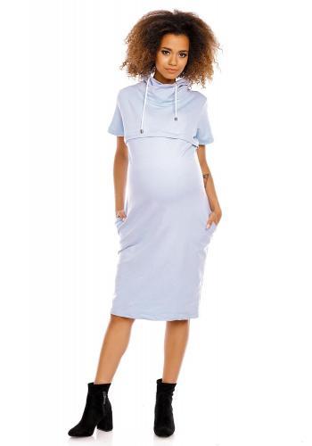 Bordové tehotenské a dojčiace šaty s krátkym rukávom