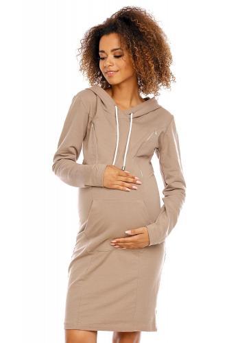 Tehotenské a dojčiace cappuccinové šaty s kapucňou