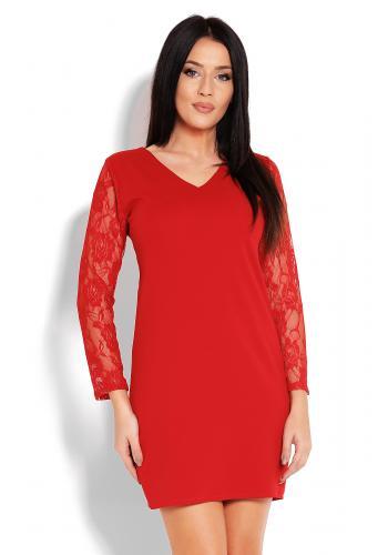 6d5527840d7d Dámske červené krátke šaty s čipkovaným rukávom ...