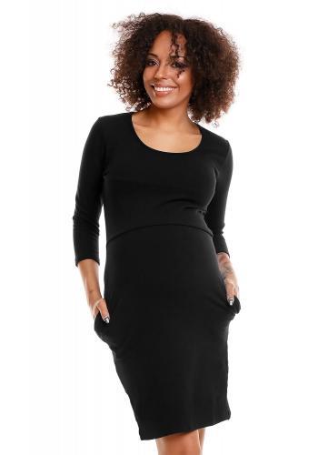 Tehotenské a dojčiace šaty s 3/4 rukávom v čiernej farbe