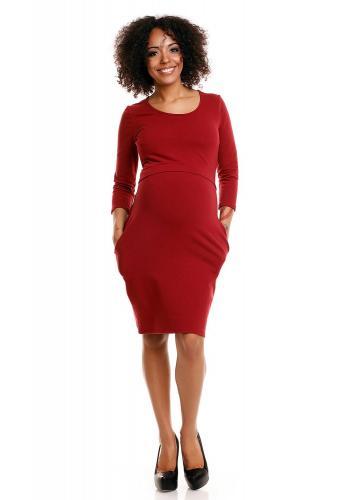 Purpurové tehotenské a dojčiace šaty s 3/4 rukávom