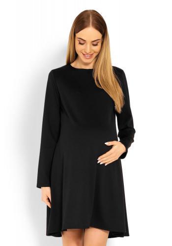 Tehotenské čierne šaty s voľným strihom