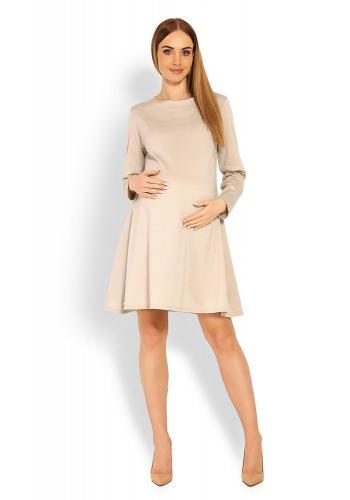 Tehotenské šaty s voľným strihom v cappuccinovej farbe