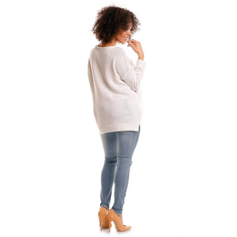 bd0da18b5d0b Tehotenský oversize sveter v bielej farbe - premamku.sk