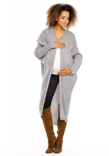Modrý dlhý kardigán s vreckami pre tehotné