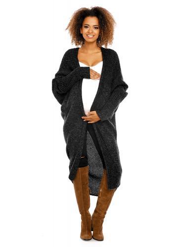 Tehotenský modrý oversize dlhý plášť