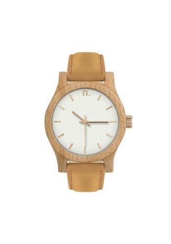 ea30e394f Drevené dámske hodinky hnedo-bielej farby s koženým remienkom ...