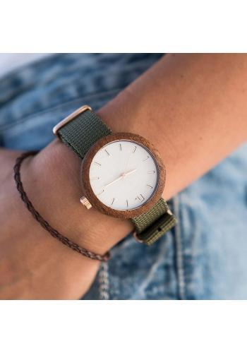 Drevené dámske hodinky sivej farby s koženým remienkom