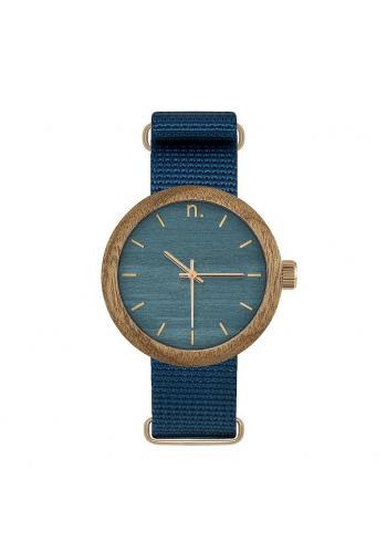Dámske drevené hodinky s textilným remienkom v hnedej farbe
