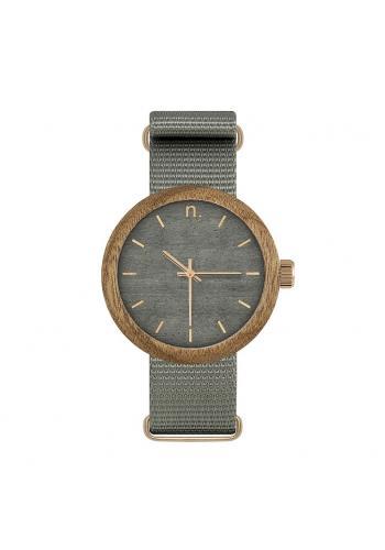 Modré drevené hodinky s textilným remienkom pre dámy