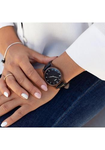 Dámske drevené hodinky s textilným remienkom v kaki farbe