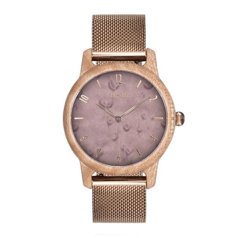 15b337cba Drevené dámske hodinky sivo-zlatej farby s kovovým remienkom. Loading zoom