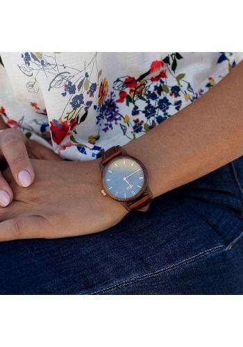 Hnedo-fialové drevené hodinky s koženým remienkom pre dámy