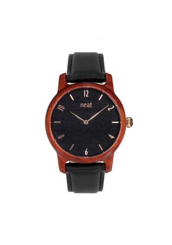 Drevené dámske hodinky hnedo-sivej farby s koženým remienkom