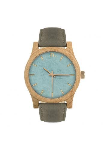 Drevené pánske hodinky béžovo-modrej farby s koženým remienkom