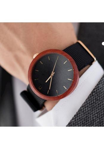 Modré drevené hodinky s textilným remienkom pre pánov